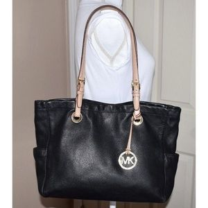 MICHAEL KORS Black Pebbled Soft Leather Tote